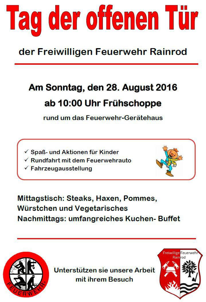 Tag der offenen Tür  der Feuerwehr Schotten Rainrod Am Sonntag, den 28. August 2016 ab 10:00 Uhr Frühschoppe rund um das Feuerwehr-Gerätehaus